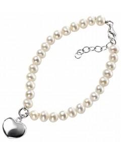 Mon-bijou - D3162b - Bracelet coeur et perle d'eau douce en argent 925/1000