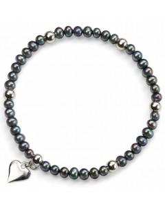 Mon-bijou - D3832 - Bracelet perle d'eau douce et coeur en argent 925/1000