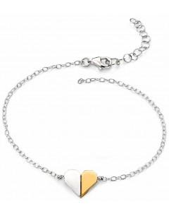 Mon-bijou - D4306 - Bracelet coeur plaqué or en argent 925/1000