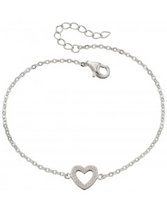 Mon-bijou - D4684 - Bracelet stretch heart and zirconia en argent 925/1000