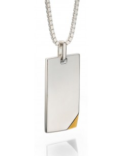 Mon-bijou - D4328 - Collier plaque d'identité plaqué Or en argent 925/1000