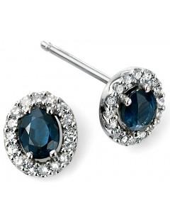 Mon-bijou - D943c - Boucle d'oreille saphir et diamant en Or blanc 375/1000
