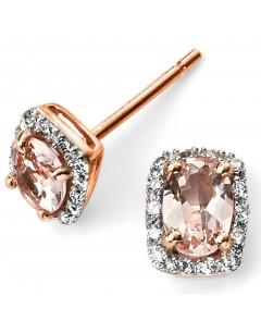 Mon-bijou - D2026c - Boucle d'oreille morganite et diamant en Or rose 375/1000