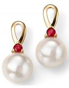 Mon-bijou - D2076 - Boucle d'oreille perle et rubis en Or 375/1000