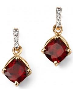 Mon-bijou - D2080 - Boucle d'oreille grenat et diamants en Or 375/1000