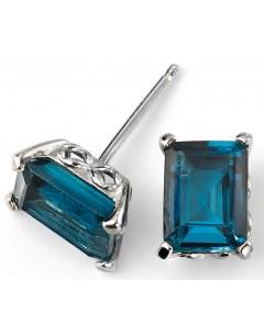 Mon-bijou - D2082 - Boucle d'oreille tendance topaze bleu en Or blanc 375/1000