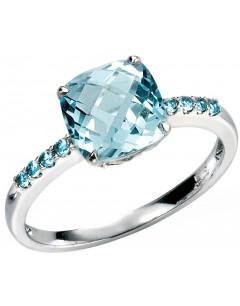 Mon-bijou - D217 - Bague Topaze bleu en or 375/1000 carat