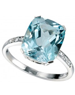 Mon-bijou - D224 - Bague Topaze bleu et Diamant 0,042 carat en or 375/1000 carat