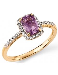 Mon-bijou - D281 - Bague améthyste et diamant en Or 375/1000