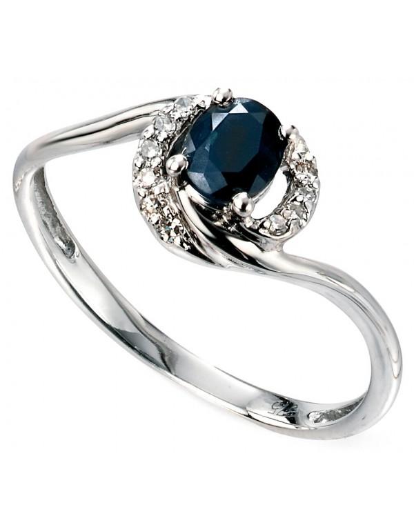 Exceptionnel Mon-bijou - D468c - Bague Saphir bleu et diamant 0,06 carat en or  EN17