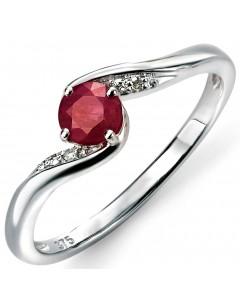 Mon-bijou - D469 - Bague Rubis et Diamant 0,02 carat en or 375/1000