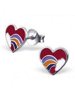 Mon-bijou - H1557 - Boucle d'oreille cœur arc en ciel en argent 925