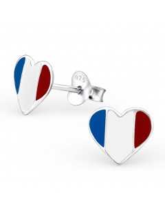 Mon-bijou - H13272 - Boucle d'oreille cœur allez la France en argent 925/1000