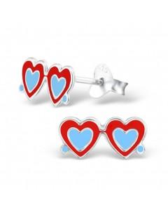 Mon-bijou - H2199 - Boucle d'oreille lunette de soleil cœur en argent 925/1000