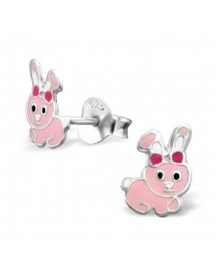 Mon-bijou - H2308 - Boucle d'oreille petit lapin rose en argent 925/1000