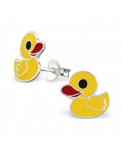 Mon-bijou - H3729 - Boucle d'oreille petit canard jaune en argent 925/1000