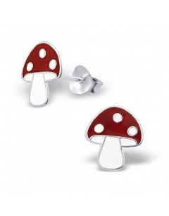 Mon-bijou - H4666 - Boucle d'oreille champignon en argent 925/1000