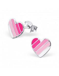 Mon-bijou - H21711 - Boucle d'oreille cœur rose en argent 925/1000