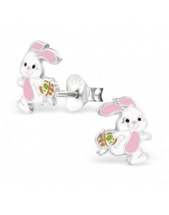 Mon-bijou - H28242 - Boucle d'oreille petit lapin rose en argent 925/1000