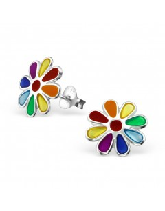 Mon-bijou - H11752 - Boucle d'oreille fleur arc en ciel en argent 925/1000