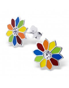 Mon-bijou - H4857 - Boucle d'oreille fleur multi-couleur en argent 925/1000
