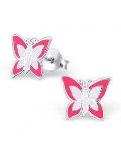 Mon-bijou - H10391- Boucle d'oreille papillon rose en argent 925/1000