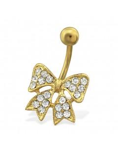Mon-bijou - H29735 - Jolie piercing noeux en acier inoxydable doré