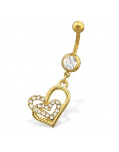 Mon-bijou - H29681 - Jolie piercing cœur en acier inoxydable doré