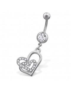 mon-bijou - H29680 - Jolie piercing cœur en acier inoxydable