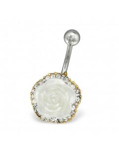 Mon-bijou - H30096 - Jolie piercing rose blanche en acier inoxydable doré