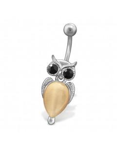 Mon-bijou - H29694 - Jolie piercing hibou en acier inoxydable