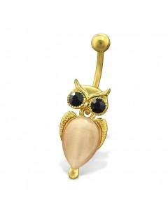 Mon-bijou - H29695 - Jolie piercing hibou en acier inoxydable doré
