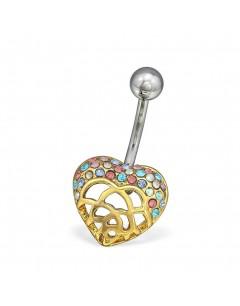 Mon-bijou - H30093 - Jolie piercing cœur en acier inoxydable doré