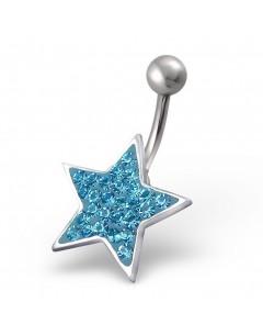 Mon-bijou - H2446 - Jolie piercing étoile plaqué argent en acier inoxydable