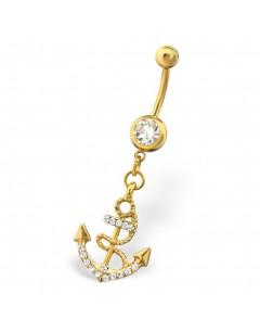 mon-bijou - H29702 - Jolie piercing en acier inoxydable doré
