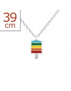 Mon-bijou - H30924 - Collier arc en ciel en argent 925/1000