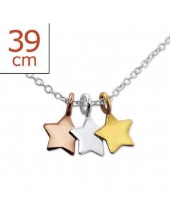 Mon-bijou - H23847 - Collier trois étoiles dorés en argent 925/1000