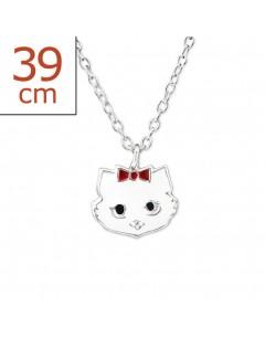 Mon-bijou - H29841 - Collier chat blanc en argent 925/1000