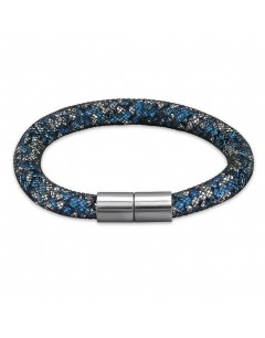Mon-bijou - H31660 - Bracelet cristal bleu et blanc en acier inoxydable