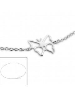 Mon-bijou - H3742 - Chaîne cheville papillon en argent 925/1000