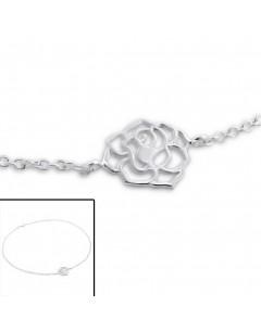 Mon-bijou - H3750 - Chaîne cheville rose en argent 925/1000