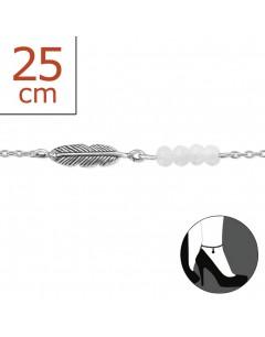 Mon-bijou - H174z - Chaîne cheville plume en argent 925/1000