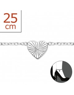 Mon-bijou - H6404 - Chaîne cheville coeur en argent 925/1000