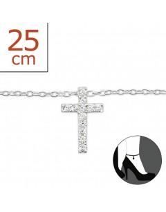 Mon-bijou - H6444 - Chaîne cheville croix en argent 925/1000