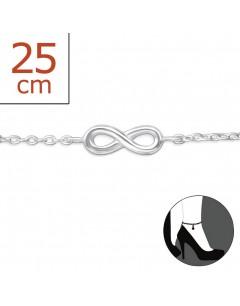 Mon-bijou - H5892 - Chaîne cheville infinity en argent 925/1000