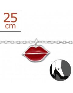 Mon-bijou - H1305z - Chaîne cheville bisous en argent 925/1000
