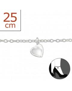 Mon-bijou - H1420 - Chaîne cheville coeur en argent 925/1000