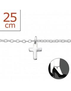Mon-bijou - H1501z - Chaîne cheville croix en argent 925/1000
