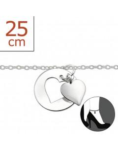Mon-bijou - H1605z - Chaîne cheville coeur en argent 925/1000