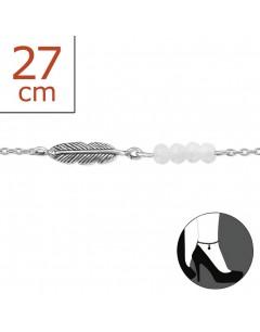 Mon-bijou - H1974z - Chaîne cheville plume en argent 925/1000